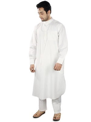 White Plain Cotton Islamic-Kurta-Pajama