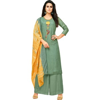 Teal Green & Mustard Uppada Silk Printed & Embroidered Women's Palazzo Suit