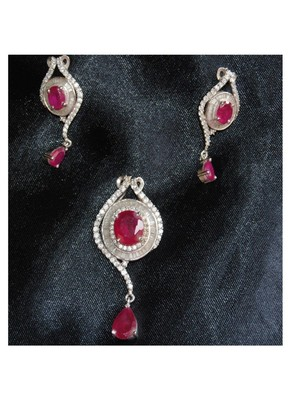 Ruby Diamond Pendant Set