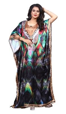 Multicolor Stylish Satin Silk Digital Printed Kaftan