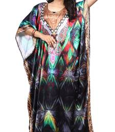 Multicolor Stylish Satin Silk Digital Printed Kaftan