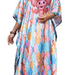 Multicolor Women's Party Wear Satin Silk Digital Printed Kaftan