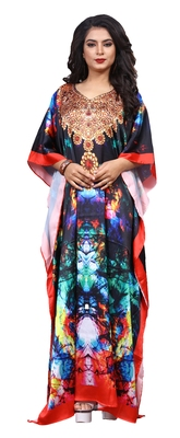 Multicolor Designer Digital Printed Satin Silk Kaftan