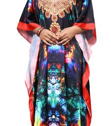 Multicolor Designer Digital Printed Satin Silk Kaftan