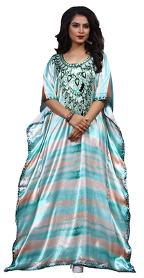 Multicolor Casual Digital Printed Long Satin Silk Kaftan