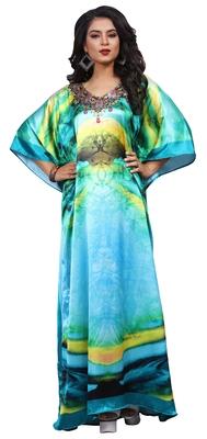 Multicolor High Quality Digital Printed Satin Silk Kaftan