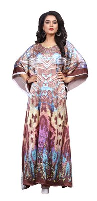 Multicolor Digital Printed Satin Silk Kaftan