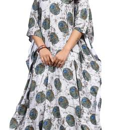 Multicolor Printed Rayon Soft Cotton Long Kaftan