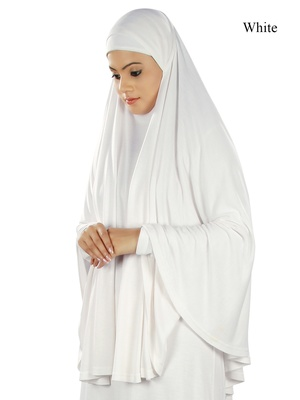 MyBatua white Dua Prayer Khimar - Soft Viscose Jersey