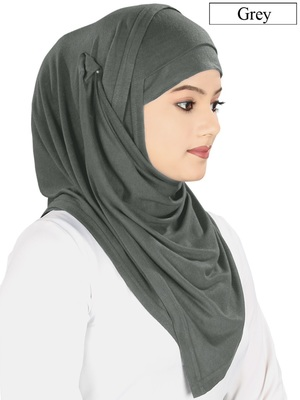 MyBatua grey Jersey Hijab and Band