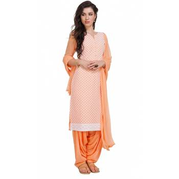 Orange Georgette Cap Sleeve Kurta and Churidar Unstitched Set For Women's
