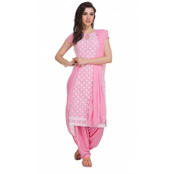 Pink Georgette Cap Sleeve Kurta and Churidar Unstitched Set For Women's