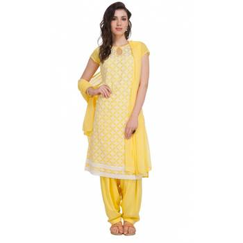Yellow Georgette Cap Sleeve Kurta and Churidar Unstitched Set For Women's