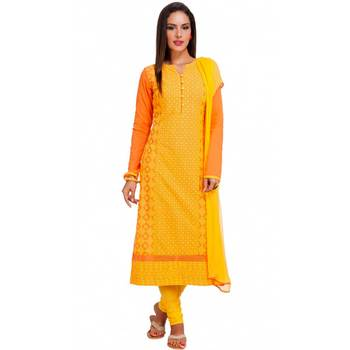 Orange Cambric Cap Sleeve Kurta and Churidar Unstitched Set For Women's