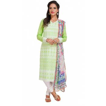 Lemon Cambric Cap Sleeve Kurta and Churidar Unstitched Set For Women's