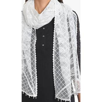 White rayon embroidered stole for women