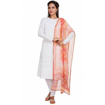 White Georgette Cap Sleeve Kurta and Churidar Unstitched Set For Women's