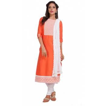 Orange Georgette Cap Sleeve Kurta and Churidar Unstitched Set For Women's