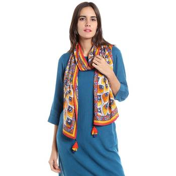 Yellow rayon printed stole for women