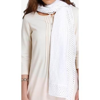 White schiffli embroidered stole for women