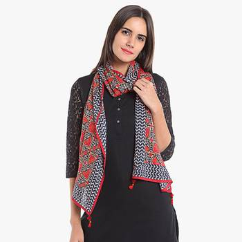 Red rayon printed stole for women