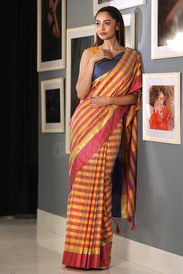 Yellow Handloom Banarasi Cotton Saree