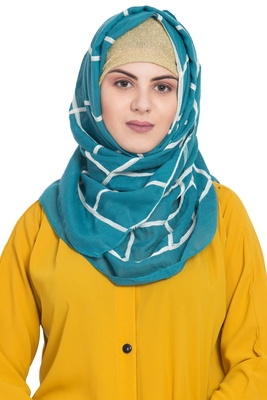 Green cotton islamic hijab