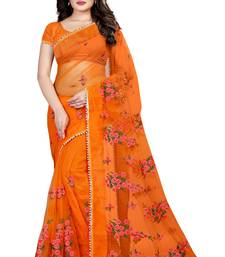 Buy Orange embroidered net saree with blouse net-saree online