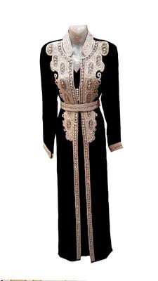 Black georgette embroidered islamic wedding kaftan