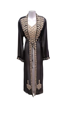 Black and white georgette embroidered islamic wedding kaftan