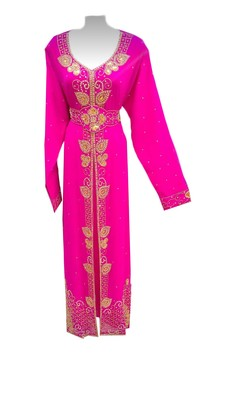 Pink georgette embroidered islamic wedding kaftan