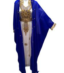 Royal blue georgette embroidered islamic wedding kaftan