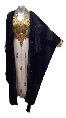 Navy blue and white georgette embroidered islamic wedding kaftan