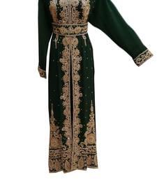 Green  georgette embroidered islamic wedding kaftan