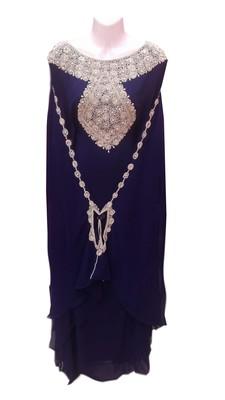 Navy blue georgette embroidered islamic wedding farasha