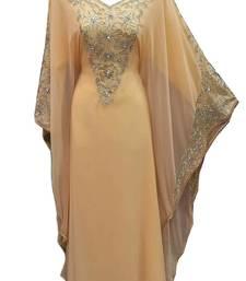 Beige georgette embroidered islamic wedding farasha