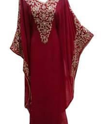 Maroon georgette embroidered islamic wedding farasha