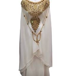 White georgette embroidered islamic wedding farasha