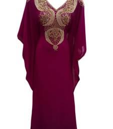 Magenta georgette embroidered islamic wedding farasha