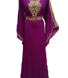 Purple georgette embroidered islamic wedding farasha