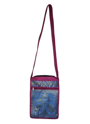 Lal Haveli Rajasthani Elephant & Peacock Work Design Two Zip Pocket Silk Crossbody Bag