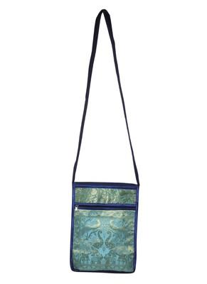 Lal Haveli Indian Handmade Peacock & Elephant Work Design Silk Crossbody Bag 10 x 15 inch