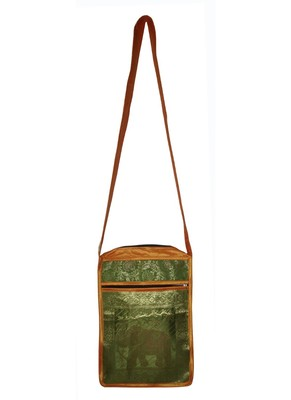 Lal Haveli Indian Women's Handmade Elephant Work Design Jhola Silk Bag 10 x 15 inch
