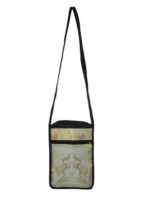 Lal Haveli Handmade Crossbody Silk Bag Ethnic Elephant & Peacock Work 10 x 15 inch