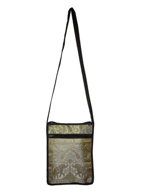 Lal Haveli Indian Handmade Peacock & Elephant Work Design Hippie Sling Crossbody Bag 10 x 15 inch