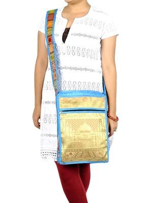 Lal Haveli Taj Mahal Design Silk Cross Body Hippie Bag 10 X 15 inches