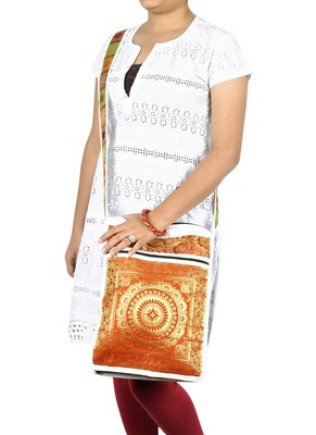 Lal Haveli Mandala Work Design Silk Boho Hippie Bag 10 X 15 inches