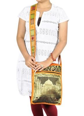 Lal Haveli Indian Taj Mahal Art Work Silk Jhola Boho Bag Christmas Gift 10 X 15 inches