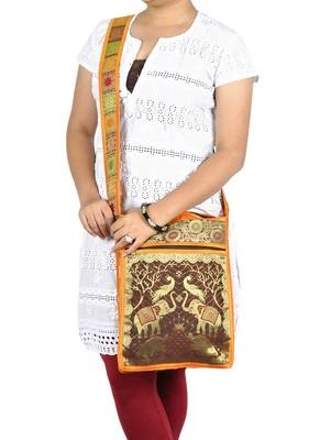 Lal Haveli Rajasthani Handmade Peacock & Elephant Work Design Cross Body Silk Sling Bag