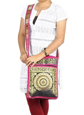 Lal Haveli Mandala Work Jacquard Silk Ladies Fashion Boho Hippie Bag 10 X 15 inches